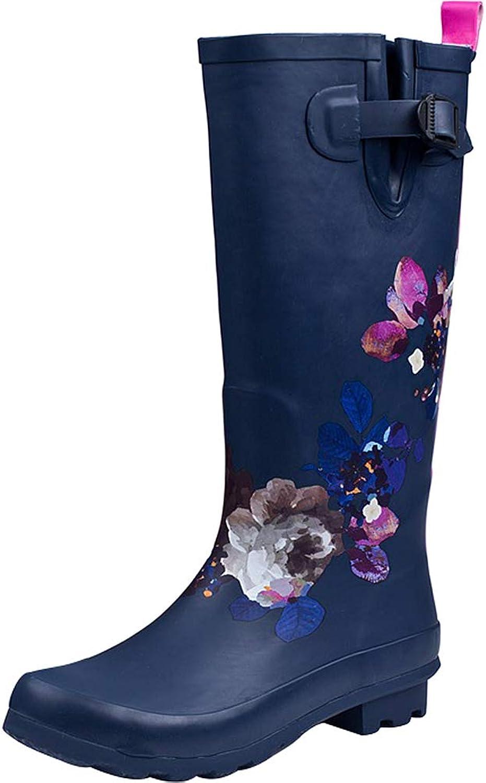 Sekesin Women Ladies Fashion Wellies Knee High Waterproof Welly Slip On Wellington Boots Anti Slip Rain Boots