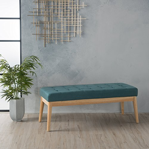 Christopher Knight Home Saxon Fabric Bench, Dark Teal
