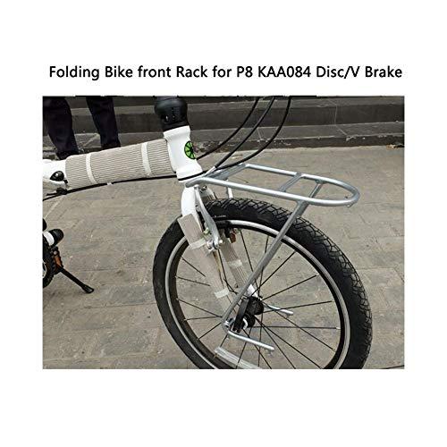 XIAOFANG 50,8 cm faltbarer Fahrradträger passend für Dahon P8 Regal Frontrahmen Korb Rack Aluminiumlegierung Kleiderbügel KAA084 Scheibenbremse V-Bremse Universal silber