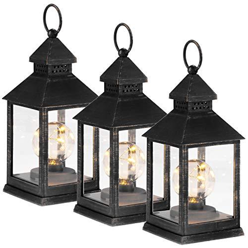 com-four® Linterna LED 3X con función de Temporizador - Iluminación LED para Navidad - Linterna eléctrica a batería como decoración navideña (03 Piezas - Redondo Negro/Dorado)