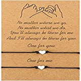 feifanshop 2 pulseras de corazón para mujer, ajustables, con colgante de corazón, hechas a mano, joyas trenzadas, regalo para mejor amiga o mujer