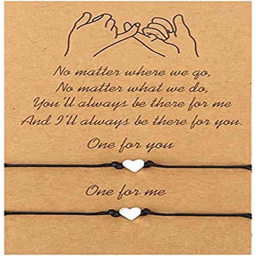 feifanshop 2 Stück Herzen Damen Armband Schmuckseil justierbare mit Herz Anhängern handgemacht Geflochten schmuck Kette Geschenk für Beste Freundin Fraun Armkette Paar Love Bracelet