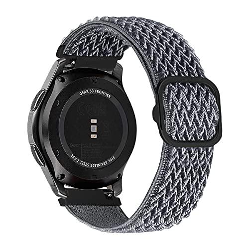 MroTech Compatibile con Huawei Watch GT 2 46 mm GT 2e GT2 Pro Cinturino 22 mm Ricambio per Samsung Galaxy Watch3 45mm Gear S3 Frontier Galaxy Watch 46mm Solo Loop Elastica Nylon Band-Onda Grigio cielo