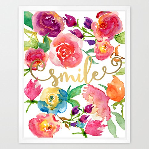 Eleville 8X10 Smile Real Gold Foil and Floral Watercolor Art Print (Unframed) Nursery Wall Art Home Decor New baby gift Motivational Art Inspirational Print Birthday Wedding Gift Quote Print WG093