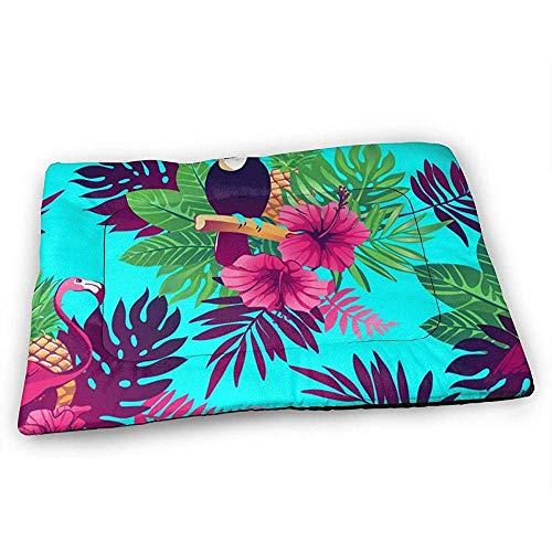 YAGEAD Flamingos Tukan und Tropische Blätter Hundebettmatte mit wasserdichter Rutschfester Unterseite, waschbare Hundekistenmatte für schlafende Haustierpolster
