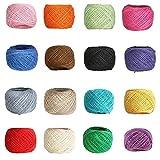 Cuerda de Hilo Natural de Color,16 Colores Cuerda de Yute Hilo para Manualidades para Obras de Arte,Decoración,Regalos,Paquetes,Artesanía de Bricolaje,Jardín Deco