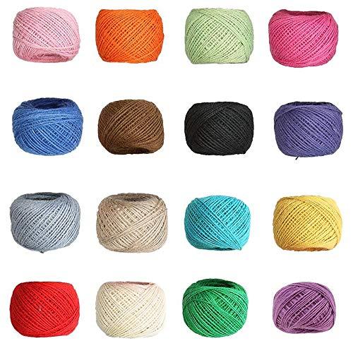 Spago Colorato,16 Colori Corda di Canapa Naturale 2mm Regalo Corda per Opere d'arte,Decorazione,Regali,Confezionamento,Bricolage,Artigianato