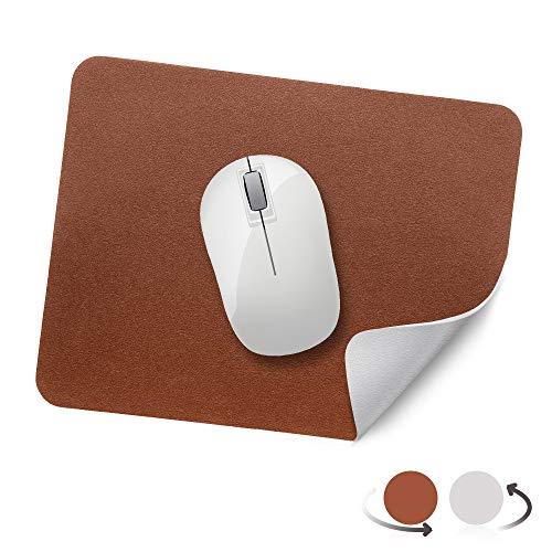 AtailorBird Mauspad, Office Mauspad(270 * 210 * 2mm), rutschfeste Mousepad doppelte Farbe wasserdicht PU Leder Matte für PC, Computer und Laptop - Braun Grau