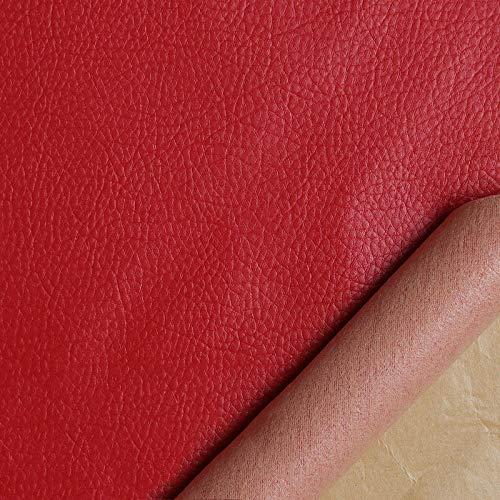Kit de Parche de Piel,Parches de Piel Cuero Artificial, para Sofá Asientos de Coche Pegatina de Reparación de Polipiel Parches rojo50cmX138cm