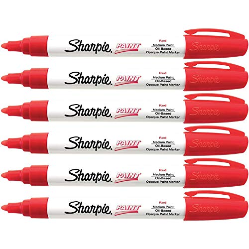 Sharpie Oil-Based Paint Marker, Medium Point, Red Ink, Pack of 6