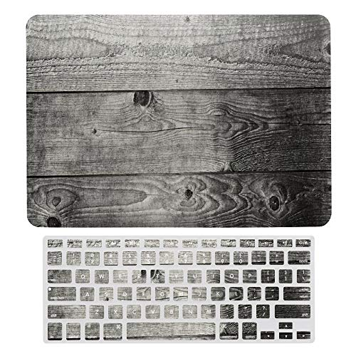 Macbook Air 13 Inch Case(A1369 & A1466, Older Version 2010 2017 Release), Plastic Hard Protective Laptop Case Shell With Keyboard Cover, Dark Grey Ombre Wood Planks Print