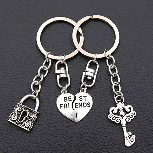 Best Friend Tag-Couple Sleutelhanger Charm Toetsenbord Charm Antiek Zilver