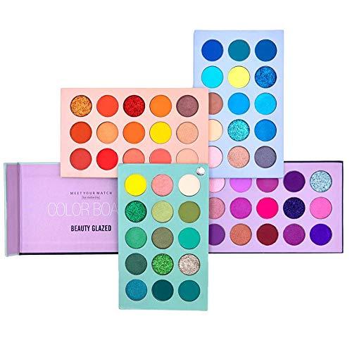 60 Farben Lidschatten-Palette, 4-in1-Farbbrett-Make-up-Palette Set Hochpigmentierter Glitter Metallic Matte Shimmer Natürliches Ultra-Lidschattenpulver Leicht zu mischen