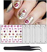 WOKOTO 50Pcs Water Nail Stickers And Decals Fashion Design Lips Owl Coconut Tree Oil Paint Nail Decals Water Transfer Set With Nail Tweezers