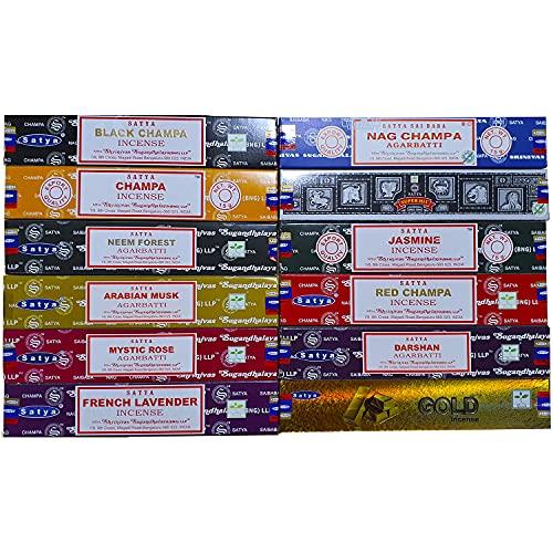 Pack de inciensos Satya - Surtido de 12 fragancias (Pack 6)