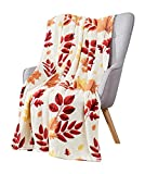 Fall Decor Throw Blanket: Colorful Autumn Hickory Leaf Print on Soft Beige Velvet Fleece for Sofa Bed Couch Chair or Dorm (Style 1)
