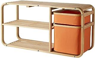 引き出し付き竹靴収納ベンチは、2層の靴は、ファブリックストレージバスケット、玄関、廊下、90x30x44cm用ブーツラックとオーガナイザーラック (色 : オレンジ)