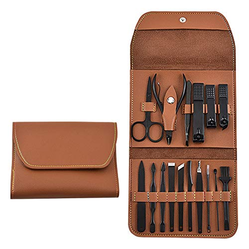 Manicure Set, Stainless Steel Professional Pedicure Kit Nail Scissors Grooming Kit - Portable Travel Nail Manicure/Pedicure Tools kit for Men and Women with PU Leather Case (Brown)