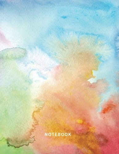 Notebook: Lined Notebook Journal - Rainbow Watercolor - 120 Pages - Large (8.5 x 11 inches)