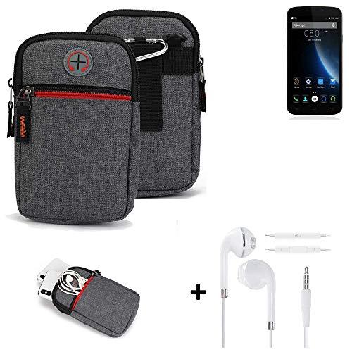 K-S-Trade® Gürtel-Tasche + Kopfhörer Für -Doogee X6S- Handy-Tasche Schutz-hülle Grau Zusatzfächer 1x