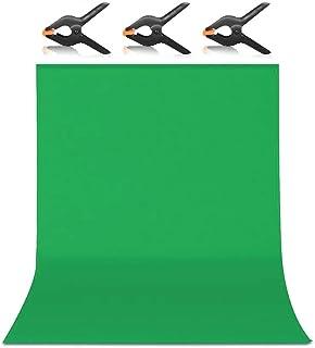 Hemmotop 背景布 緑 強力クリップ 2点付き グリーンバック 1.8m x 2.8m 布バック 無地 クロマキー 写真スタジオ バックスクリーン ポール対応 全身撮影 180 x 280 cm 父の日ギフト