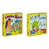 Haba 4321 - Hoppe Reiter Pferdestarkes Wettlaufspiel, für 2-4 Spieler von 3-12 Jahren & Socken...