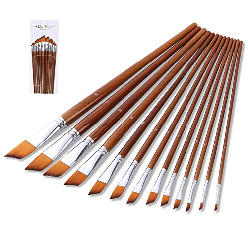 Paint Brushes Set Angled Brush Artist Made of Premium Nylon Hair for Acrylic Watercolor Oil Painting for Beginners and Kids