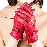 fletion Mujer Ladies Luxury suave oveja guantes de piel con forro polar de 100% de guantes de piel para equitación de invierno rojo talla única