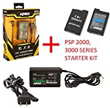 Battery Pack + Home Wall Travel Charger AC Adapter Compatible with Sony PSP 2000 3000 Slim