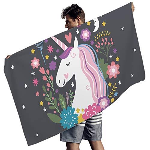 Perstonnoli Unicorn Are Real Strandtuch Microfaser Strandtücher Saugfähig Strandhandtuch Badetuch Picknickdecke Stranddecke Yogamatte Wandtuch Rechteckig White 150x75 cm