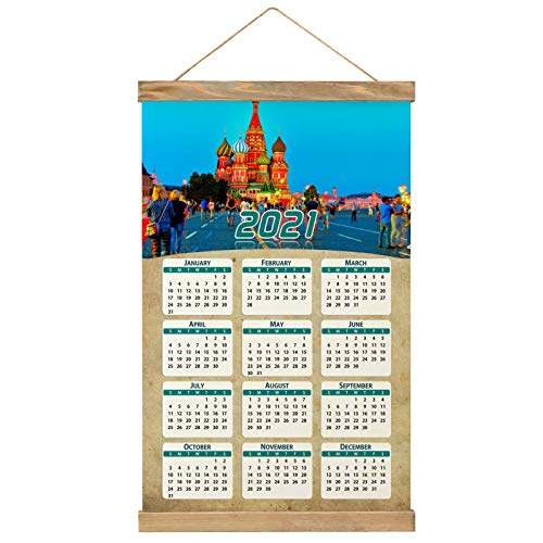 Russia Moscow Red Square Wall Calendar 2021 12 months Canvas Wood 20.4' x 13.1' (GL-Russia-4897)