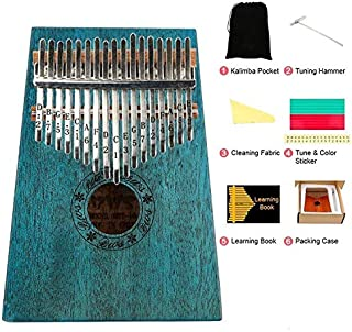 17 Key Kalimba, Kalimba Thumb Piano with Protective Box, Tuning Hammer and Study Instruction, portable musical instruments as Gift Idea for Kids Adult Beginners & Professional (Blue)