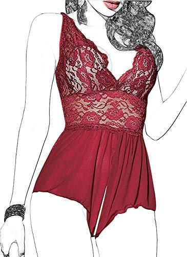 Women Lingerie Sheer Lace Mini Babydoll Teddy Sexy Bodysuit Backless Sleepwear (XL, Wine red)