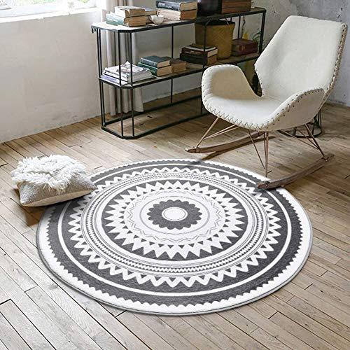 MSM Furniture Soft Anti Slip Round Area Rugs,Velvet Geometric Pattern Indoor Carpet Swing Chair Hanging Egg Hammock Chair Floor Mat Rug Dark Gray 3'9 Diameter(120cm)