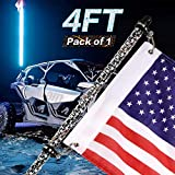 Yvoone-Auto 4FT LED Whip Lights with Flag Remote Controlled 360 Twisted Chasing Color RGB Light Whip Antenna Lamp Accessories for UTV Off- Road Vehicle ATV Polaris RZR 4 Wheeler
