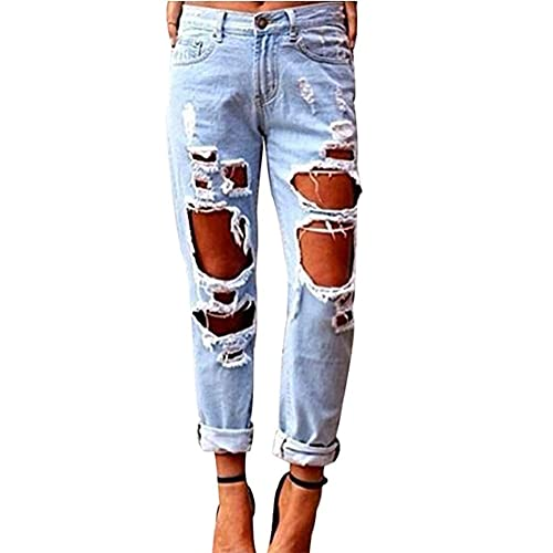478c24ea045 Wisptime Women Jeans Skinny Ripped Distressed Jeans Stretch Pants Boyfriend  Trousers