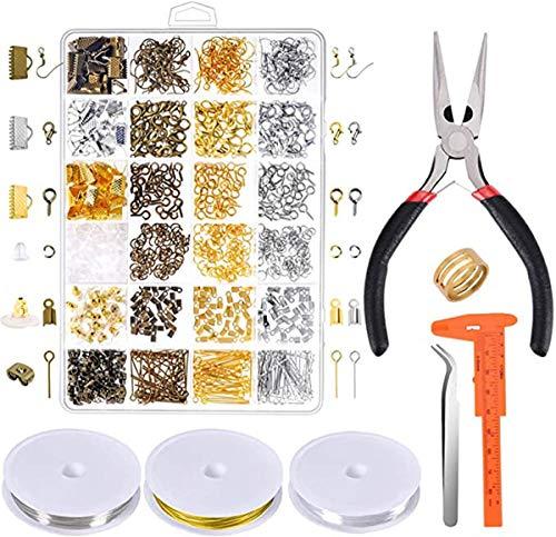 Kit de suministros de joyería – Herramientas de reparación de joyería con accesorios alicates de joyería hallazgos y alambres para abalorios para adultos y principiantes
