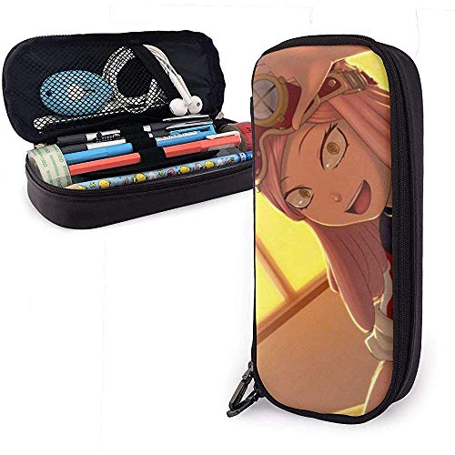 Mei Hatsume Boku No Hero Funda de cuero de PU Estuche para lápices Bolsa estacionaria Bolsa de almacenamiento Bolsa de maquillaje 20 * 9 * 4 cm (8X3.5X1.5 pulgadas)