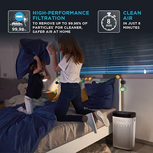 Rowenta Pure Air Essential PU2530 purificador de aire con prefiltro, filtro de carbón activo y filtro de partículas finas, 3 velocidades, modo Silencio, indicador de cambio de filtro y temporizador