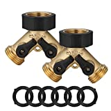 Garden Hose Splitter 2 Way, Heavy Duty Brass Connector Tap Splitter, Y Connector Brass Garden Hose Adapter with 2 Valves,Faucet Adapter for Drip Irrigation Lawns,2 Pack