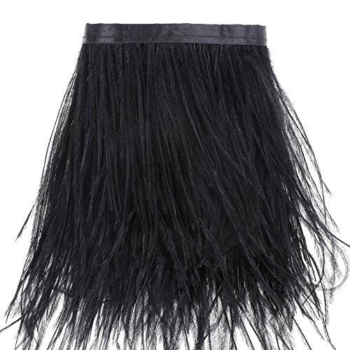 Ribete de flecos de plumas de avestruz, para costura, manualidades, disfraces, decoración, 1,83m...