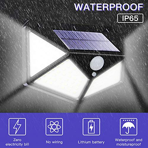 Solar Lights Outdoor Motion Sensor 100 LED Wall Lights with 3 Mode, 270° Wide Angle Outdoor Lights IP65 Waterproof Wireless Security lights Night Light for Patio Garden Yard Garage Porch Fence -4 Pack