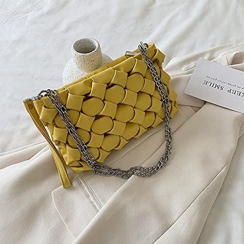 zyylppylw Shoulder Bags Fashion Handmade Woven Handbag for Women Luxury PU Leather Chain Shoulder Hobo Bag Female Casual Crossbody Clutch Purse (Color : Yellow, Size : 26x5x15cm)