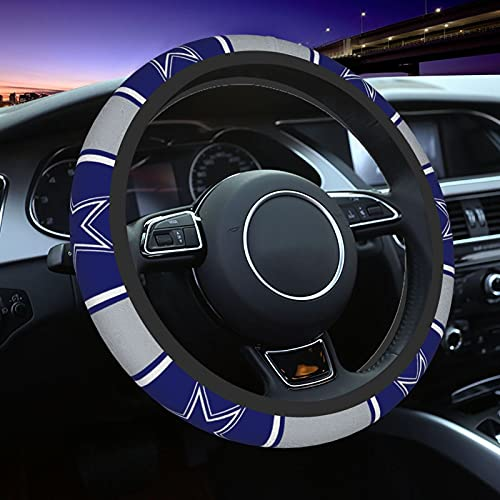 Dallas Cowboys Car Steering Wheel Cover,American Football Design Steering Wheels Covers,Elastic Breathable Warm in Winter and Cool in Summer Car Accessories for Men Women,15 inch