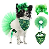 Vehomy Pet Dog Saint Patrick's Day Costume - Green Dog Top Hat Dog Saint Patrick's Day Shamrock Bandana with Clover Pattern and Pet Tutu Skirt for Girl Dogs Cats Puppy Kitten 3Pcs