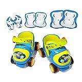 幼児ローラースケートシューズ子供のための調節可能なクワッドローラースケート子供、男の子そして保護ギア、赤い女の子 (Color : Blue)