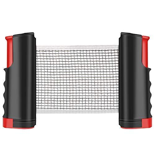 Tencoz Red de Tenis de Mesa, Red Ajustable de Ping Pong Repuesto Portátil Retráctil Table Tennis Net - Ping Pong Net para Entrenamiento Abrazaderas, Longitud Ajustable 200 (MAX) x 14.5cm (Rojo) 🔥