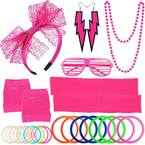 ZTWEDEN 80s Women's Costume Outfit Accessories Set Headband Earrings Fishnet Gloves Necklace Bracelet Leg Warmers Pink