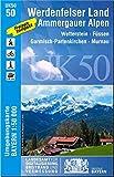 UK50-50 Werdenfelser Land, Ammergauer Alpen: Wettersteingebirge, Füssen, Garmisch-Partenkirchen, Murnau a.Staffelsee, Oberammergau, Kloster Ettal, ... Karte Freizeitkarte Wanderkarte)