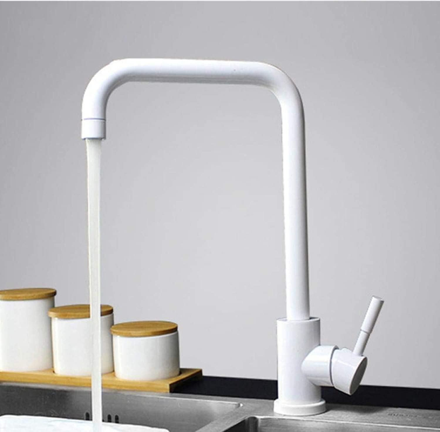 Küchenarmatur 360 drehen wei Mischbatterie für Küche 304 Edelstahl Hot & Cold Deck montiert Kran für Spüle